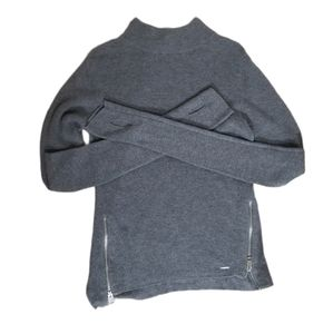 Diesel Ribbed Grey Zipper Front Mock Neck Sweater